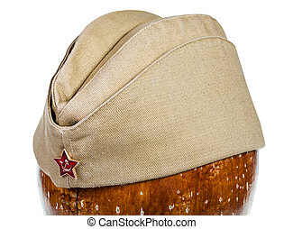 military green garrison cap with soviet red star sign on...