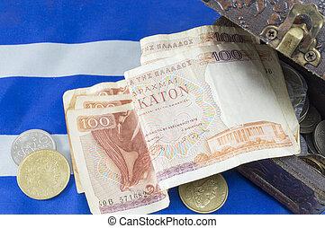 caixa, dracma, antigas, Grego, notas, moeda corrente,...