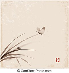 Butterfly and little snail on leaves of grass