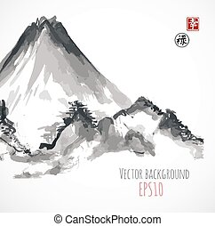 Mountains, hand-drawn with ink in traditional Japanese style...