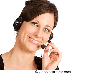 Friendly Caucasian brunette female with headset - Young...