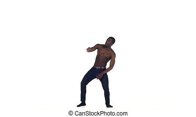 Afro american man dancer continue dancing social latina...