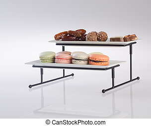 tray. three tier serving tray on a background. - tray. three...
