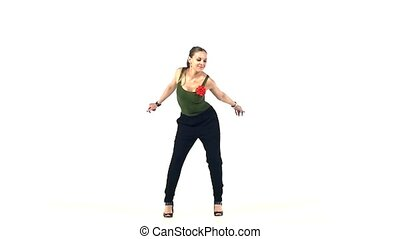 Beautiful, great lady enjoy moving dancing social latin...