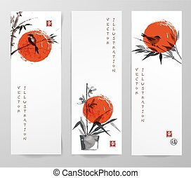 Banners with bamboo, orchid and bird in sumi-e style....