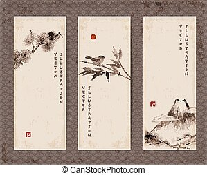 Banners with Fuji , bird, bamboo , pine tree - Set of...