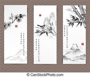 Banners with mountains, bird, bamboo , pine tree - Set of...