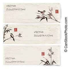 Banners with bamboo, orchid and bird - Vintage banners with...