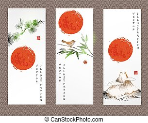 Banners with mountains, bird, bamboo , pine tree - Banners...