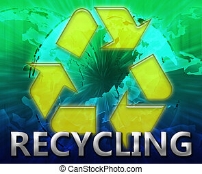 Global recycling eco symbol background concept collage...