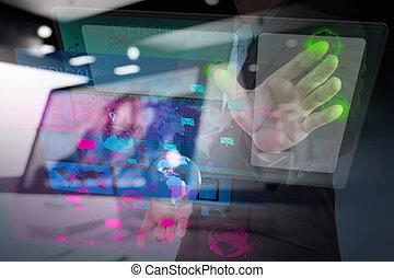 teia, Desenhista, trabalhando, com, a, Novo, computador,...