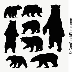 Bear wild animal silhouettes. Good use for symbol, web...