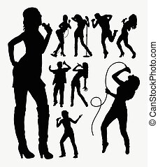 Singer profession silhouettes - Singer male and female...