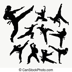 Martial art silhouettes - People, male and female martial...