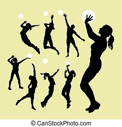 Volleyball sport silhouettes - Male and female playing...