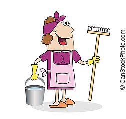 Woman cleaning woman with a MOP and bucket Vector...