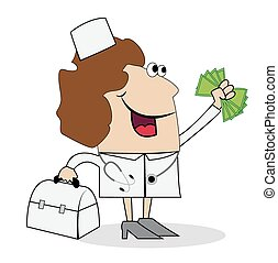 Woman doctor with money in hand. Vector illustration.