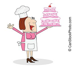 female pastry chef with cake in hand,vector illustration