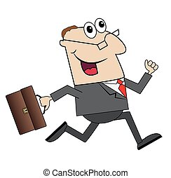 cheerful businessman with briefcase running to work,vector...