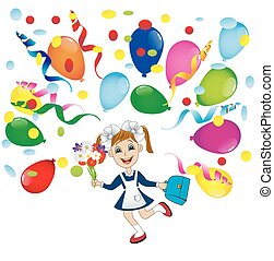 cheerful girl in school uniform and balloons,vector...
