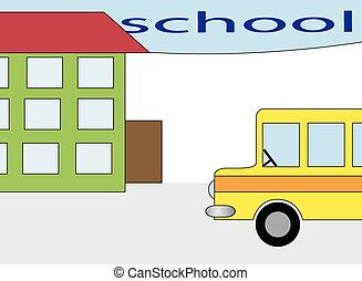 the school building and bus stations,vector illustration