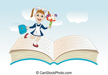 cheerful girl with a school uniform on an open book,vector...