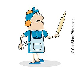 Housewife with a rolling pin