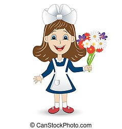 cheerful girl in school uniform with a bouquet of...