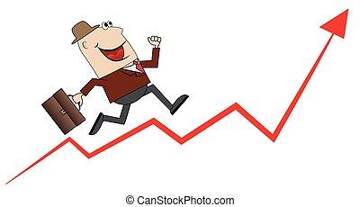 business man climbs up the career
