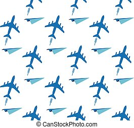 seamless background with airplanes