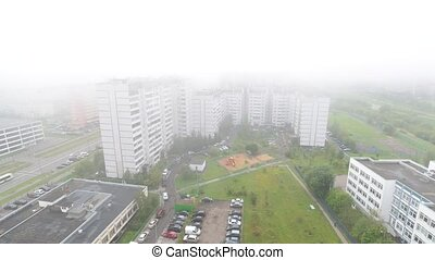 Foggy morning in Moscow, Russia - Foggy autumn morning in...