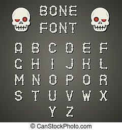 Cartoon Bone Alphabet A to Z Flat Design Font Symbol Icon...