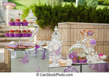 pink candy bar. the holiday table decoration