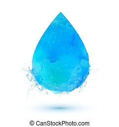 Blue watercolor  water drop isolated on white