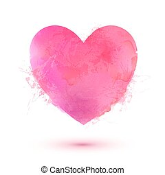 Pink Valentines Day heart in watercolor style