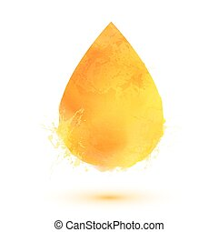 Yellow watercolor  oil drop isolated on white background