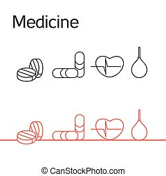Medicine icons set from cardiogram, pill and enema Vector