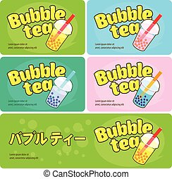 Bubble tea logo business cards and signboard template. Asian...