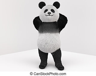 panda character with fur standing on two legs