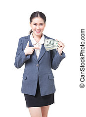 asian business woman hold bank note in hand - asian business...