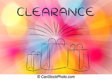 Boutique shopping bags with retro rays and text Clearance -...
