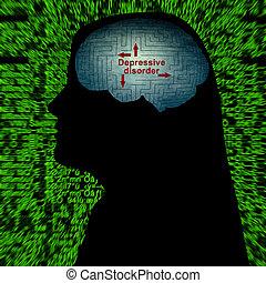 Depressive disorder maze concept
