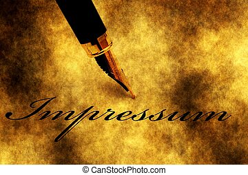 Impressum text and fountain pen