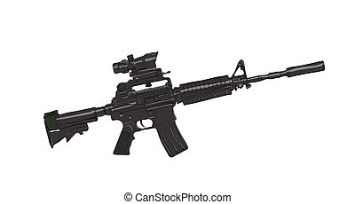rifle - black assault rifle on a white background