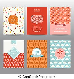 Set of Autumn Brochures and Cards - vintage layouts - in vector