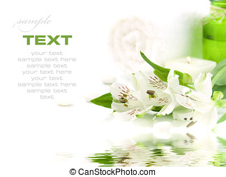 Green and white (SPA concept) - Candle, flowers and towel...