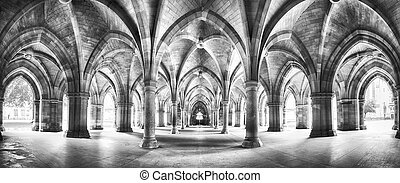 Cloister black and white panorama - A panorama of the...