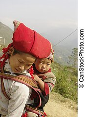 Hmong red  woman and baby
