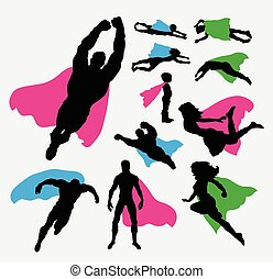 Superhero pose silhouettes - Male and female superhero...