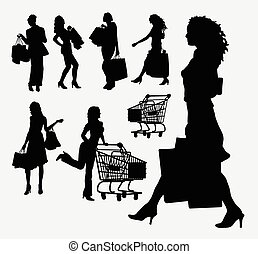 Female people shopping silhouettes